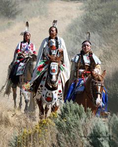 2018 Ellensburg Rodeo Poster highlighting the Yakama Indian Nation: Aeriel Speedis, Patricia Heemsah and Destiny Buck